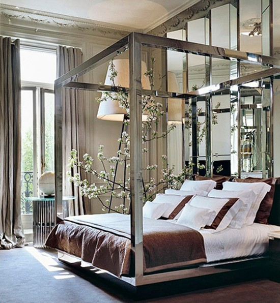 high end glamorous decorating chic paris apartment bedroom mirror furniture bed frame romantic. Black Bedroom Furniture Sets. Home Design Ideas