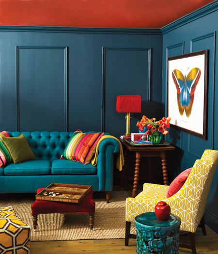 Indigo Blue Peacock Blue Living Room Interior Design Decor Eclectic