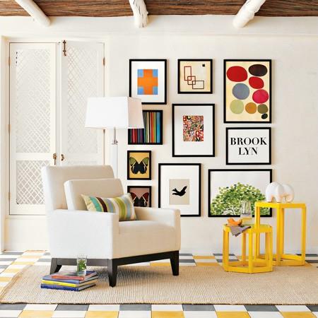 art gallery - art wall - photo art - framed art framed photos - interior design and decor - dining room - leaning art ledges - art shelves via WEST ELM pinterest2