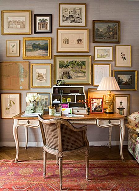 Framed Art Collection Wall Decor Ideas Desk Home Office  Elegant Interior Charlotte Moss