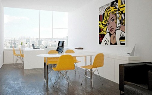 Small office interior design with white wall and tables for Office design yellow