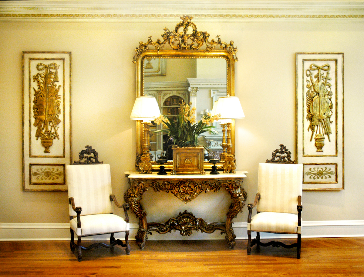 Interior Design Little Rock Gold Mirror