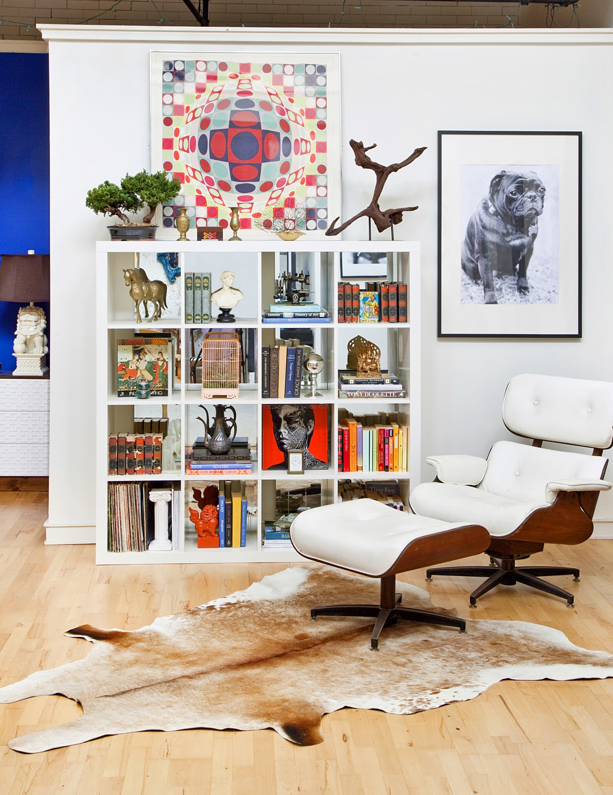 White Expedit Bookshelf Mirror Back Eames Lounge Pug Art Design Manifest